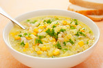 Corn Chowder Soup with Potatoes and Green Capsicum
