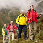 colorful senior hiking group vertical